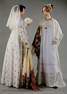 Left: Dress ca. 1808-09 and shawl ca. 1810 Right: Dress ca. 1808-09, smock ca. 1790, white shawl ca. 1810 and cashmere shawl, first quarter 19th century From Napoleon & the Empire of Fashion