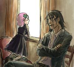 Zaraki & Yachiru | 黒とピンク | たまこま [pixiv] http://www.pixiv.net/member_illust.php?mode=medium&illust_id=50952763