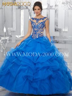 ELEGANT ROYAL BLUE LACE EMBROIDERY QUINCEANERA DRESS | RUFFLES Follow us on instagram for daily updates @moda_2000