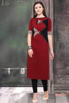 Maroon-Boat-Neck-Rayon-Quater-Sleeve-Straight-Office-Wear-Kurthi-11-18688 Catalog No : 4717 WWW.LKFABKART.COM #wholesalekurtis #wholesalekurtisupplier #kurtisdealers #kurtiexporters #kurtimanufacturer #kurtistockist #fancy #officewear #eventwear #kurti #factoryrates #worldwide #lkfabkart Boat Neck Kurti, Blouse Neck Patterns, Patiala Salwar Suits, Kurti Sleeves Design, Sleeve Designs, Office Wear, Indian Dresses, Designer Dresses, Fashion Dresses