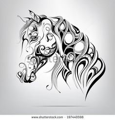 Vector silhouette of a horse's head in the ornament - stock vector