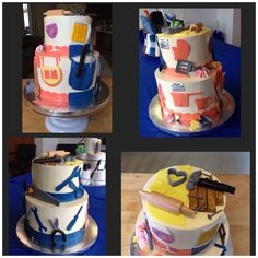 This cake was made for a tool and gadget party! All handmade pieces!