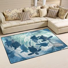 Naanle Ocean Sea Life Area Rug 3x5 Cute Sea Turtle Polyester Area Rug Mat for Living Dining Dorm Room Bedroom Home Decorative >>> Check out this great product.  This link participates in Amazon Service LLC Associates Program, a program designed to let participant earn advertising fees by advertising and linking to Amazon.com.