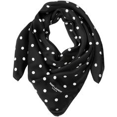 Saint Laurent Women Polka Dot Silk Twill Scarf (385 AUD) ❤ liked on Polyvore featuring accessories, scarves, black, yves saint laurent, polka dot scarves and silk twill scarves