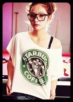 STARBUCKS TShirt Crop Top Wide Neck Shirt by WeAreYoungShop, $16.99