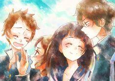 Hyouka's Oreki Houtarou, Chitanda Eru, Fukube Satoshi, and Ibara Mayaka