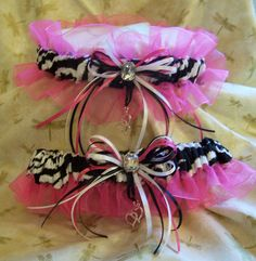 Hot Pink and Zebra wedding garter <3 so cute!