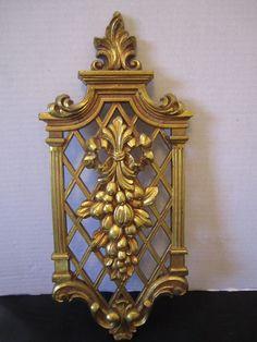 2 Hollywood Regency Gold Lattice Back Dart Wall Plaque Fruit Ornate Victorian