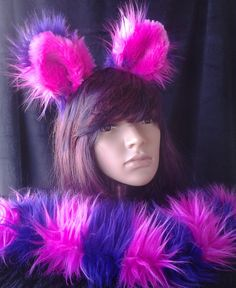 Cheshire Cat ears and tail, with wrist cuffs and leg fluffies as additional option Cheshire Cat Halloween, Cat Ears And Tail, Halloween Party, Halloween Tricks, Alice In Wonderland Characters, Inner Ear, The Last Picture Show, That Way, Hot Pink