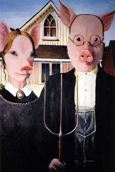 American Gothic Pigs.