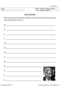 Acrostic poem - Nelson Mandela