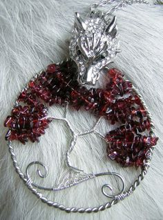 MADE TO ORDER: Game of Thrones (House Stark) Themed Weirwood Tree Heart Tree of Life Pendant With Dire Wolf