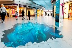 Ocean Under Water 3D Floor Graphic at Mall