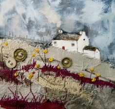 'Cranberry Meadow' by Louise O'Hara of DrawntoStitch Landscape Quilts, Landscape Drawings, Weaving Textiles, Fabric Houses, Sewing Art, Small Art, Detail Art, Textile Artists, Texture Art