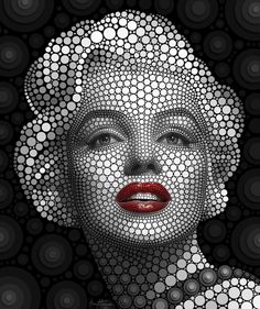 Marilyn Monroe by Ben Heine. This portrait is made with thousands of flat circles—each circle placed individually on a black background. Designated as Digital Circlism, this portrait series seems to be a synthesis of Pop Art and Pointillism. Arte Marilyn Monroe, Pop Art, Ben Heine, Jasper Johns, Arte Pop, Celebrity Portraits, Art Graphique, Dot Painting, Art Plastique