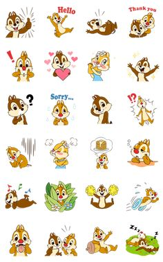 Catch Chip 'n' Dale in all their mischievous glory in this set of cute and comical animated stickers!