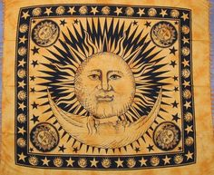 This Celestial tapestry bedspread or wall hang highlights a gorgeous Celestial sun moon star mandala design featuring a big Sun in the middle with stars and moon all over the border. Psychedelic Tapestry, Mandala Tapestry, Sun And Moon Tapestry, Indian Tapestry, Indian Mandala, Sun Moon Stars, Tapestry Wall Hanging, Tapestry Bedroom, Wall Hangings
