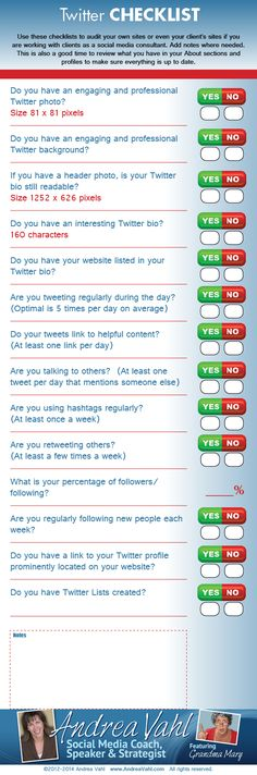 www.incometriggerconsulting.com Here is another great infographic. This time a Twitter Checklist