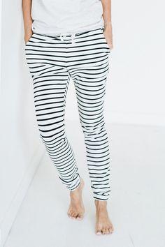 Comfy black & white stripes joggers