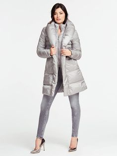 LONG BELTED-WAIST PADDED JACKET | GUESS.eu Puffer Jackets, Winter Jackets, Outfits Otoño, Outfit Invierno, Padded Jacket, Slim, Belt, Long Sleeve, Jackets