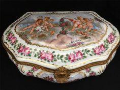 Antique Large Sevres Porcelain Box CA 1754 Hand Painted by Francois Boucher