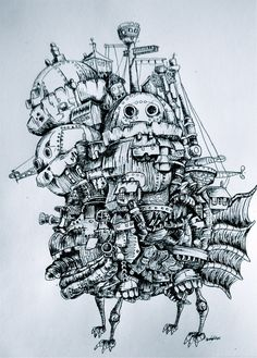 drawing of howl's moving castle one of my favorite movies belongs to studio ghibli and hayao miyazaki .and disney? Studio Ghibli Tattoo, Studio Ghibli Art, Studio Ghibli Movies, Howl's Moving Castle Tattoo, Howls Moving Castle, Burg Tattoo, Art Sketches, Art Drawings, Castle Drawing