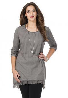 Typ , Longshirt, |Materialzusammensetzung , Jersey 95% Baumwolle, 5% Elasthan, Unterteil Blusenstoff aus 100% Baumwolle, |Ausschnitt , Rundhals, |Gesamtlänge , ca. 92 cm, | ...