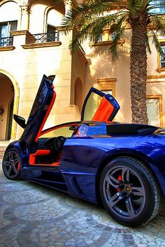 Striking Blue #Lamborghini with slick orange interior. Win the ultimate driving experience by clicking on this badboy! #carporn