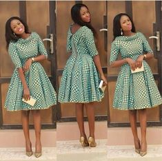 African Print Pleated Dress with Dual Neckline, African Flare Dress, African Short Dress, African Dress Robe avec encolure double plissée Ankara African Dresses For Women, African Attire, African Fashion Dresses, African Women, African Wear, Ankara Fashion, African Style, Ghanaian Fashion, Fashion Outfits