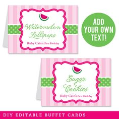 Paper goods and DIY printables for parties and holidays Birthday Diy, First Birthday Parties, Girl Birthday, First Birthdays, Buffet, Diy Organisation, Watermelon Birthday, Tent Cards, Pink Parties