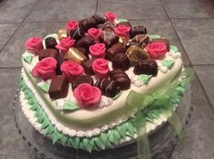 Valentine's Day cake with MMF and marzipan roses.