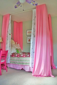 21 Easy Ways to Create a Girl's Canopy Bed - DIY canopy bed idea for girl's room. I like with the molding from - Bedroom Ideas For Teen Girls, Teenage Girl Bedrooms, Diy For Girls, Girls Bedroom, Bedroom Decor, Bedroom Small, Stylish Bedroom, Bedroom Furniture, Furniture Design