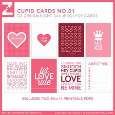 Cupid Cards No. 01 - Digital Scrapbooking Elements DesignerDigitals - Cathy Zielske