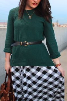 spring layering idea: green belted sweater over gingham dress