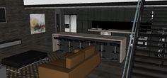 Kitchen version #2 longer island bench Central Building, Island Bench, New York Style, Loft, Desk, Interior Design, Kitchen, Furniture, Home Decor
