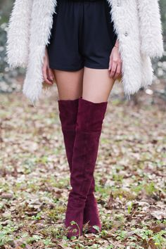 how to wear a romper in the winter, how to style a romper for winter, furry coat, big fuzzy coat, burgundy over the knee boots, chic winter style
