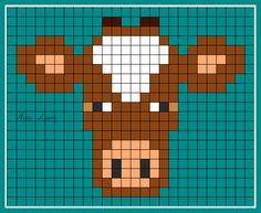 theme animaux familiers - Page 2 Pixel Crochet Blanket, Tapestry Crochet, Crochet Blanket Patterns, Cross Stitch Charts, Cross Stitch Patterns, Modele Pixel Art, Pixel Drawing, Crochet Cow, Scrappy Quilts