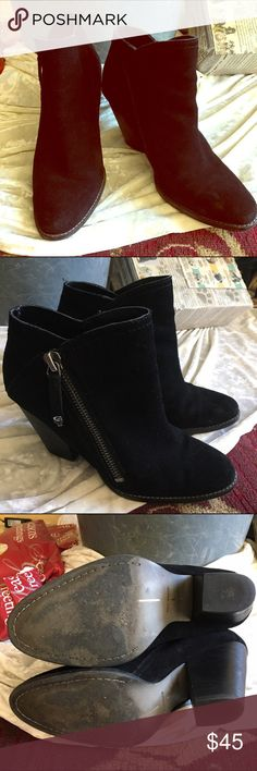 Great black bootie. Black ankle suede bootie with a 3 1/2 stacked heel. Dolce Vita Shoes Ankle Boots & Booties