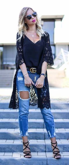 Style Guide, Kimono Outfit, Saint Laurent Bag, YSL, cami, camisole, Prada, Sunnies, blonde, hair, lace, Streetstyle, Look, Style, Sommer, Trend