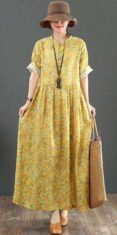6e81c5ff52b Italian o neck baggy linen dress stylish Neckline yellow print Plus Size  Dress Summer oneckdress
