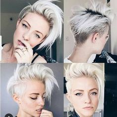 kurze Frisuren - Light Blonde Hairstyle Ideas - Short Hairstyles for Thick Hair 2016 - Uber Frauen Short Hairstyles For Thick Hair, Short Hair Cuts, Pixie Cuts, Hairstyles With Shaved Sides, Wavy Hair, Short Hair For Girls, Short Punk Hair, Layered Hairstyles, Hairstyle Short