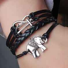 Elephant Charm Leather Bracelet - Unisex