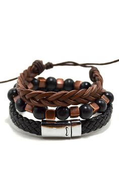 3 Pack Leather/Wood in Black and Bronze