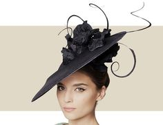 ANZIO - A True Rarity And A Unique Twist On The Fascinator Hat. No Expense Was Spared With Regard To Detail When Creating This Masterpiece. Black Straw Coulis With Black Silk Poppy And Curled Feather Trim. Headpiece Attaches Via Hairband And Elastic And Is To Be Worn To The Right.