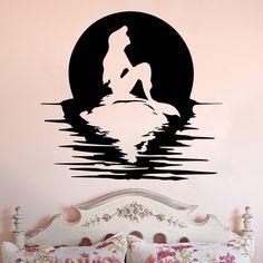 Ariel Full Moon Silhouette Little Mermaid Inspired Vinyl Wall Decal