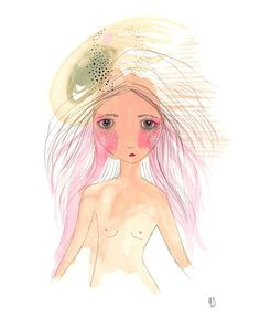 Original girl illustration bloom painting pink art by Coramantic on Etsy
