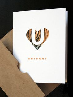 Add a Name — Love U Tiger Heart — Modern Personalized Love Card — Valentine, Anniversary, Love — For Him, Husband, Boyfriend, Valentine — by allotria on Etsy