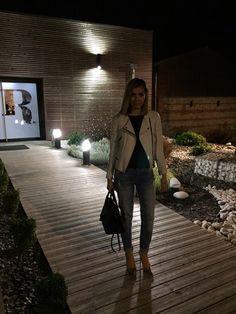 MAJE jeans,ZARA heels, BA&SH shirt, THE KOOPLES leather jacket, SAINT LAURENT bag.