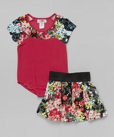 Fuchsia Floral Leotard Set - Toddler & Girls by Citlali's Choice #zulily #zulilyfinds $19.99