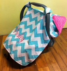 Baby infant carrier canopy car seat minky chevron monogram personalized